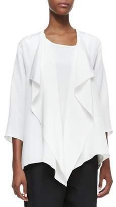 Caroline Rose Silk Crepe Drape Jacket