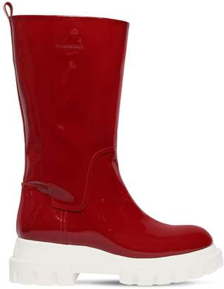 40mm Patent Leather Midi Boots