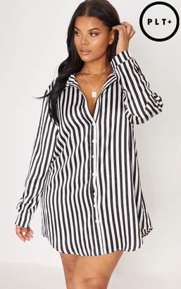 PrettyLittleThing Plus Black Striped Satin Button Front Shirt Dress