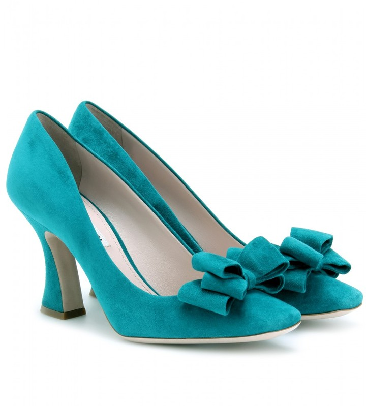 Miu Miu SUEDE BOW PUMPS WITH FLARED HEELS