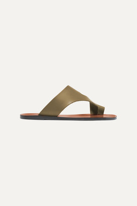 Atelier ATP Roma Cutout Leather Sandals - Army green