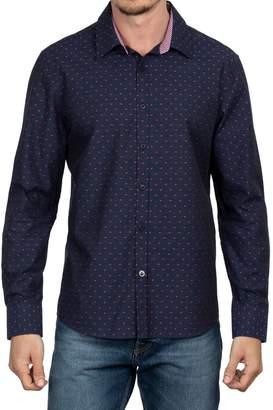 English Laundry Big Tall Clip Dot-Print Long Sleeve Button Down Shirt