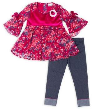 Little Lass Little Girl's Two-Piece Floral Top and Denim Leggings Set