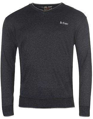 Lee Cooper Mens V Neck Knit Jumper Sweater Pullover Long Sleeve