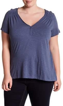 Susina Ruched Shoulder V-Neck Tee (Plus Size)
