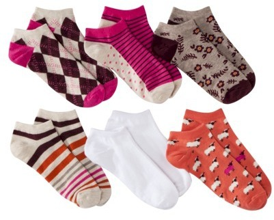 Xhilaration Juniors 6-Pack Low Cut Socks - Assorted Colors/Patterns One Size Fits Most