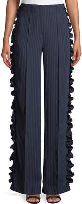 Cinq à Sept Sedona Wide-Leg Pinstripe Pants with Ruffled Trim