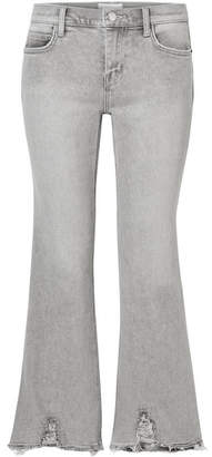 Current/Elliott The Kick Cropped Distressed Flared Jeans - Light gray