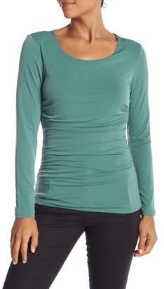 Catherine Malandrino Shirred Scoop Neck Long Sleeve Shirt