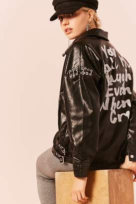 Forever 21 Graphic Faux Leather Grommet Moto Jacket