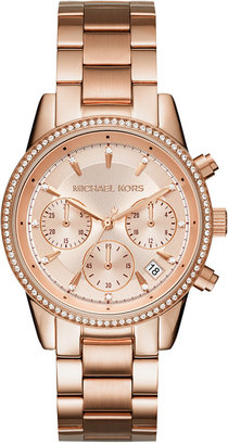 Michael Kors Women's Chronograph Ritz Stainless Steel Bracelet Watch 37mm MK6428/MK6357/MK6356 $250 thestylecure.com