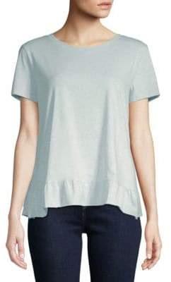 Saks Fifth Avenue Ruffle Hem Short-Sleeve Cotton Top
