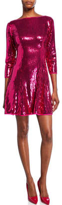 SHO Sequin 3/4-Sleeve Open-Back Cocktail Dress