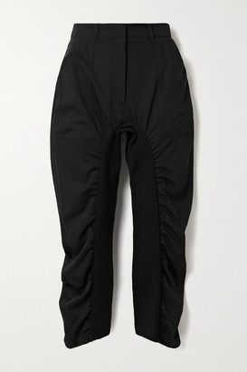 Stella McCartney Tina Ruched Wool-twill And Cotton-blend Pants - Black