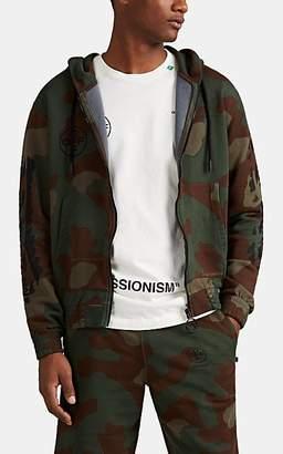 Off-White Men's Logo Camouflage Cotton Terry Hoodie - Black