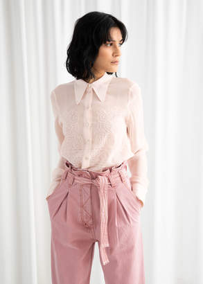 And other stories Embroidered Button Up Blouse