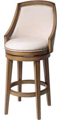Fashion Bed Group Charleston Swivel Seat Bar Stool with Acorn Finished Wood Frame, Putty Upholstery and Antique Brass Nailhead Trim, 30-Inch Seat Height