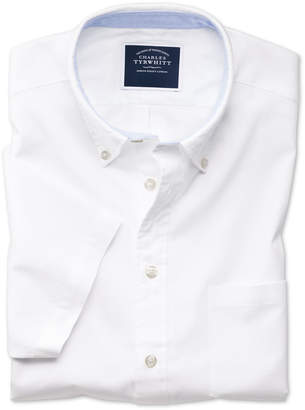 Charles Tyrwhitt Slim Fit White Washed Oxford Short Sleeve Cotton Casual Shirt Single Cuff Size Large