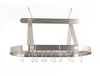 Old Dutch Satin Nickel Oval Hanging Pot Rack with Grid & 16 Hooks