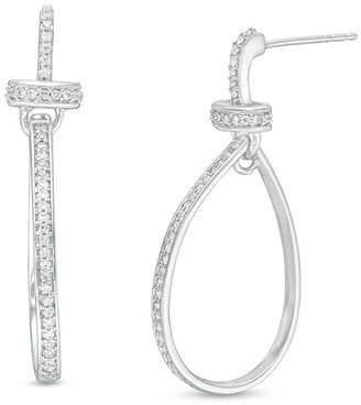 Zales 1/3 CT. T.W. Diamond Loop Drop Earrings in Sterling Silver