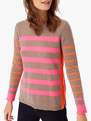 White Stuff Annie Colour Block Stripe Cashmere Jumper, Mink Multi