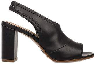 MM6 MAISON MARGIELA Black Faux Letaher Heeled Sandal