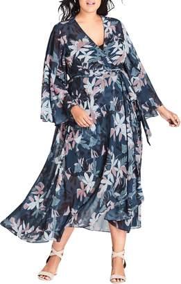 City Chic Luna Floral Chiffon Maxi Dress