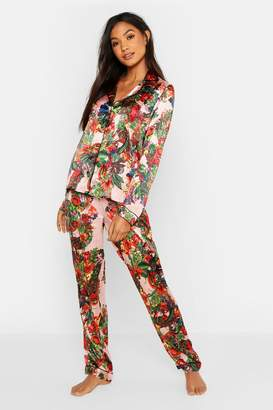 boohoo Vibrant Tropical Satin PJ Set