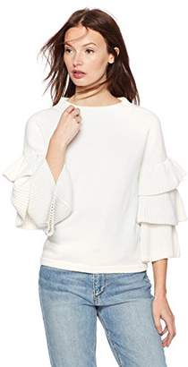 Cable Stitch Women's Tiered Ruffle-Sleeve Sweater