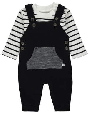 George Black Stripe Print Dungarees and Top Outfit