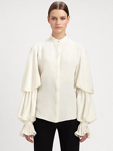 Alexander McQueen Silk Cady Ruffle Blouse