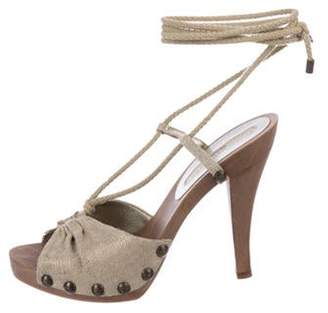 Stella McCartney Canvas Wrap-Around Sandals Beige Canvas Wrap-Around Sandals