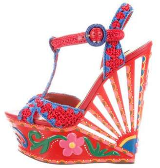 Dolce & Gabbana Painted Leather Wedges