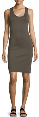 Helmut Lang Neoprene Racerback Sheath Dress, Dark Pyrite $395 thestylecure.com