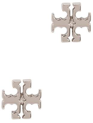Tory Burch Silver-plated Logo Stud Earrings