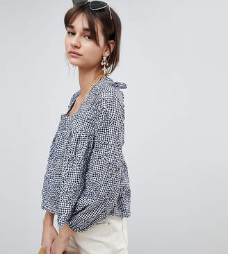 Reclaimed Vintage Inspired Square Neck Smock Top In Gingham