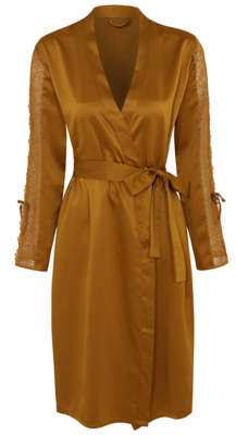 George Gold Satin Feel Lace Trim Dressing Gown