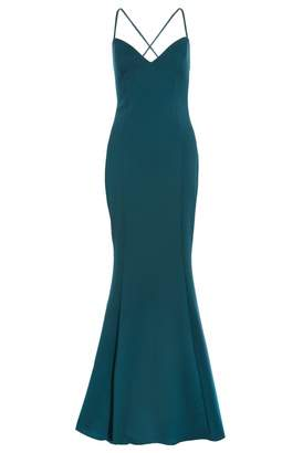 Quiz Bottle Green Cross Strap Maxi Dress