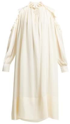 Chloé Ruffled Cut Out Shoulder Silk Georgette Midi Dress - Womens - Ivory