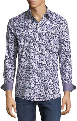 1 Like No Other Classic-Fit Floral-Silhouette Sport Shirt
