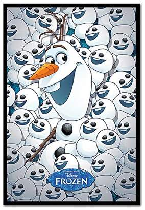 Frozen Fever Olaf & Baby Olafs Poster Magnetic Notice Board Black Framed - 96.5 x 66 cms (Approx 38 x 26 inches)