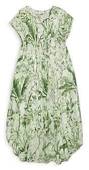 HEMANT AND NANDITA Little Girl's & Girl's Palm Print Caftan Dress