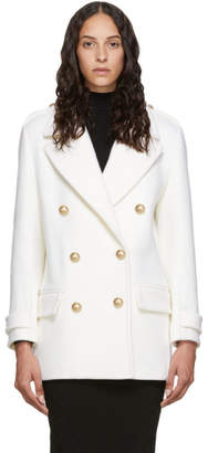 Balmain White Wool Double-Breasted Coat