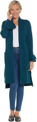 Isaac Mizrahi Live! 2-Ply Cashmere Ruffle Cuff Duster Cardigan
