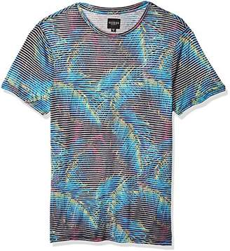 GUESS Men's Short Sleeve Mini Electric Palm Crew