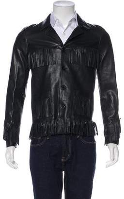 Saint Laurent 2015 Lambskin Fringe-Accented Jacket