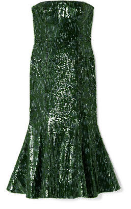 Semsem Strapless Sequined Tulle Midi Dress - Emerald