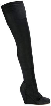 Rick Owens over-the-knee wedge booties