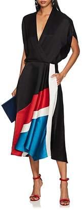 Zero Maria Cornejo Women's Aki Colorblocked Slub Twill Midi-Dress