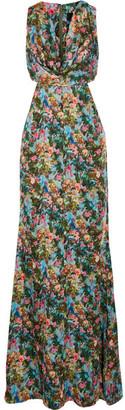 Cushnie et Ochs - Christina Cutout Floral-print Silk-charmeuse Gown - Green $2,595 thestylecure.com